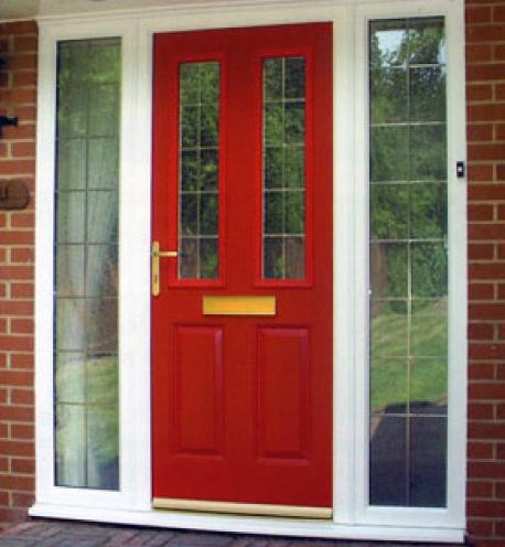 Red front door.